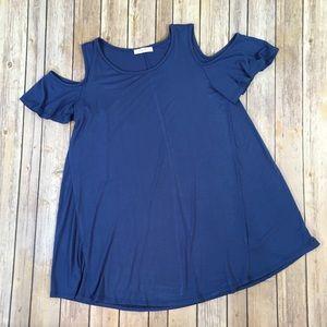 Reborn J Cold Shoulder Navy Blue Tunic